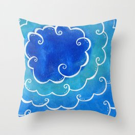 Silver linings on blue Throw Pillow