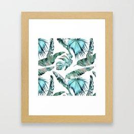 Tropical Palm Leaves Blue Green on White Framed Art Print