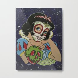 Snow White with apple Sugar Skull Metal Print