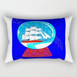 A Nautical Snow Globe with a Clipper Ship Rectangular Pillow