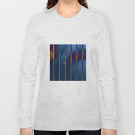 Electric Blue Abstract with Gold Stripes Long Sleeve T-shirt