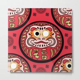 Japanese Daruma Doll Ethnic Print - Red Metal Print