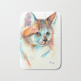 Bicolor cat portrait Bath Mat
