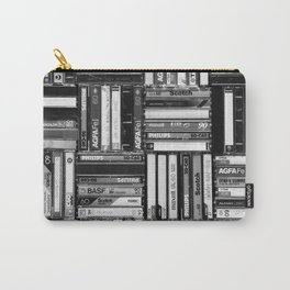 Music Cassette Stacks - Black and White - Something Nostalgic IV #decor #society6 #buyart Carry-All Pouch