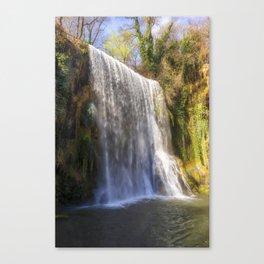 Waterfall la caprichosa in the stone monastery, Spain Canvas Print