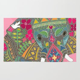 painted elephant pink spot Rug