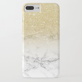 Modern faux gold glitter white marble color block iPhone Case