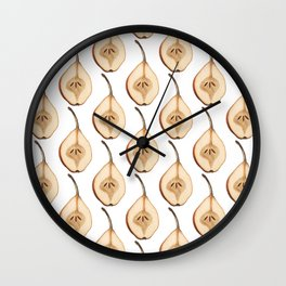 Shout Out to All the Pear on White Wall Clock