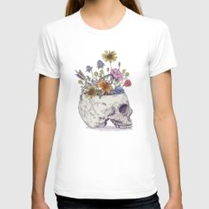 Half Skull Flowers MEDIUM Womens Fitted Tee White