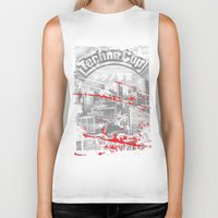 techno Biker Tanks featuring Techno Cop by Slippytee Clothing