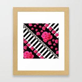 BLACK & WHITE ROSE  PATTERNED ART Framed Art Print