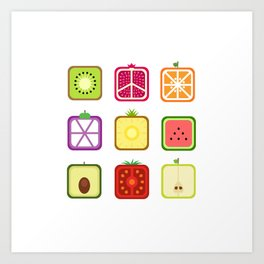 Squared Fruits Art Print