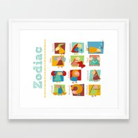 zodiac Framed Art Prints featuring Zodiac by Loezelot