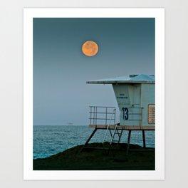 Huntington Beach Super Moon   7/12/14 Art Print
