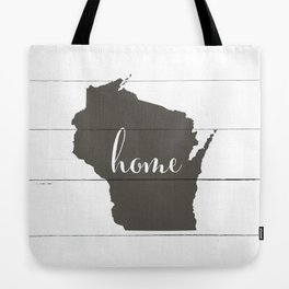 Wisconsin is Home - Charcoal on White Wood Tote Bag