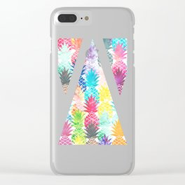 Hawaiian Pineapple Pattern Tropical Watercolor Clear iPhone Case