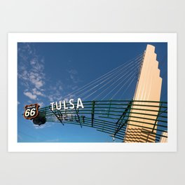 Tulsa Oklahoma Route 66 Neon Googie Style Street Art Sign Art Print