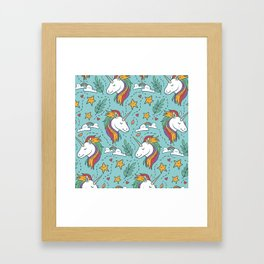 Magical Unicorn Pattern on turquoise background Framed Art Print