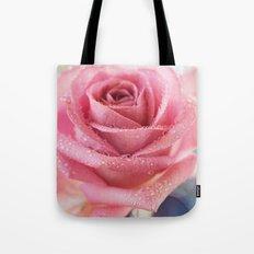 Pink Rose Macro Photograph in vintage pastel tones Tote Bag