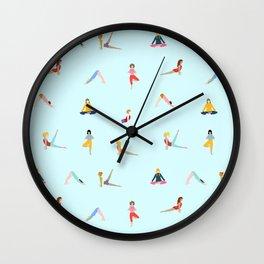 Yoga poses pattern Wall Clock