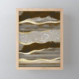 Brown Agate Gold Stripe Glam #1 #gem #decor #art #society6 Framed Mini Art Print
