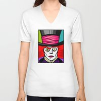 mad hatter V-neck T-shirts featuring Mad Hatter by Artistic Dyslexia