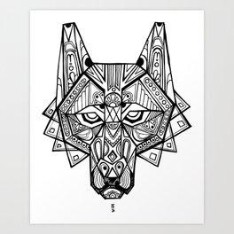 Deco Wolf Art Print