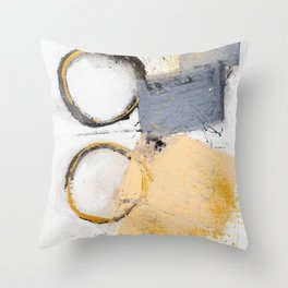 abstract circles blue, peach and gold illustration Throw Pillow