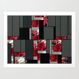 Mixed color Poinsettias 3 Art Rectangles 7 Art Print