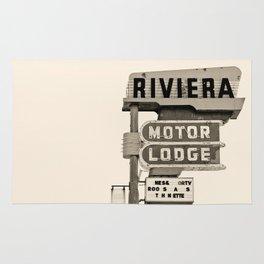 Vintage Neon Sign - Riviera Motor Lodge - Tucson Rug
