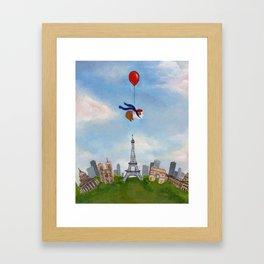 Guinea Pig With Balloon Over Paris, France Framed Art Print