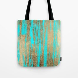 Modern chic faux gold turquoise trendy brushstrokes Tote Bag