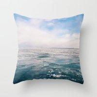 michigan Throw Pillows featuring Lake Michigan by Pan Kelvin