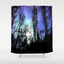 Black Trees Periwinkle Blue Lavender SPACE Shower Curtain