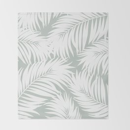Palm Tree Fronds White on Rainwashed Maui Hawaii Tropical Graphic Design Throw Blanket