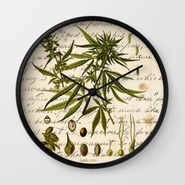 Marijuana Cannabis Botanical on Antique Journal Page Wall Clock