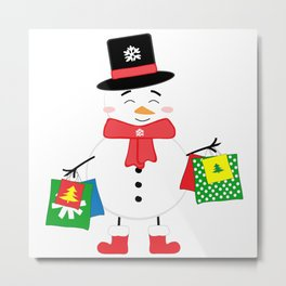 Happy Snowman with shopping bags Metal Print