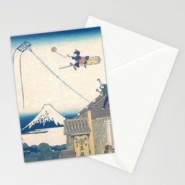 Kiki and the balloon - japanese vintage print mashup Stationery Cards