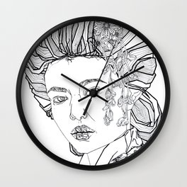 Geometric Black and White Drawing Japanese Geisha floral kimono Wall Clock