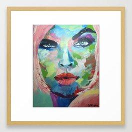 Strawberry blonde raising eyebrow Framed Art Print