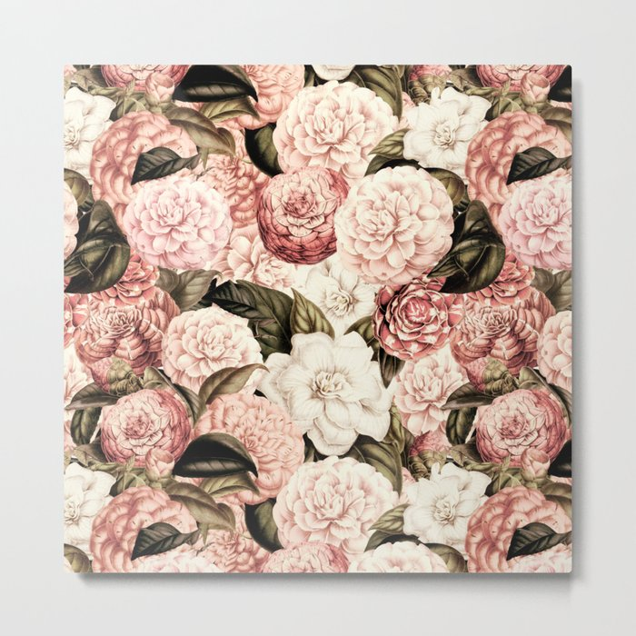 Vintage & Shabby floral camellia flowers watercolor pattern Metal Print