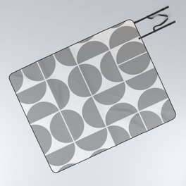 Mid Century Modern Geometric 04 Grey Picnic Blanket