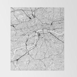 London White Map Throw Blanket