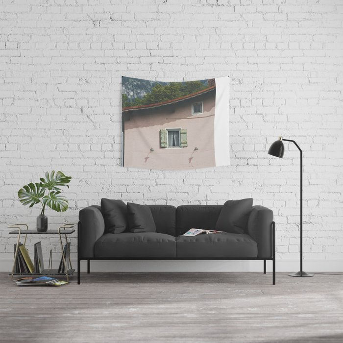 Pink Alpine House Wall Tapestry