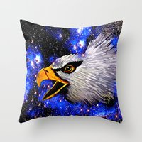eagle Throw Pillows featuring Eagle by Saundra Myles