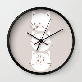 Cute cat brothers illustration - white cats on a beige background Wall Clock