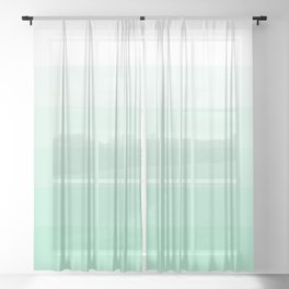 White to Mint Green Gradient Stripes Sheer Curtain