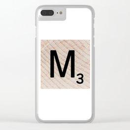 Scrabble Tile - Letter M - Letter Art Clear iPhone Case