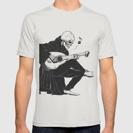 Minstrel playing guitar,grim reaper musician cartoon,gothic skull,medieval skeleton,death poet illus T-shirt