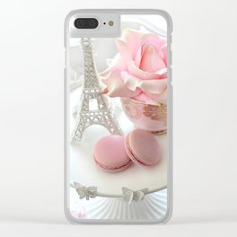 Shabby Chic Paris Pink Macarons Eiffel Tower Roses Romantic Prints and Home Decor Clear iPhone Case